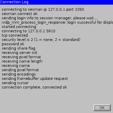 xRDP Connection log connected