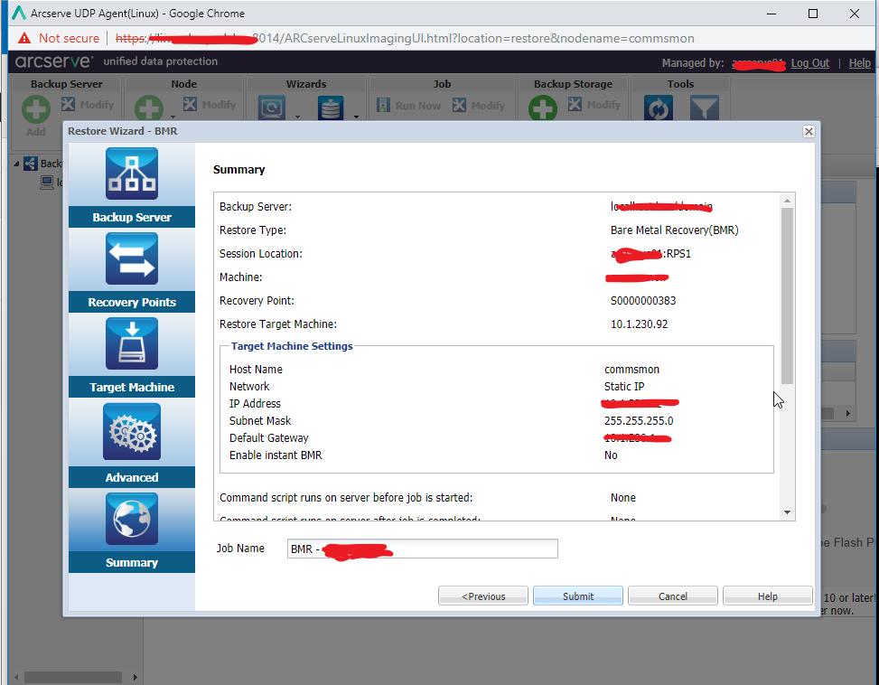 , Arcserve BMR Restore for Linux Server