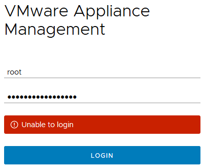 Vmware Appliance, Unable to log into my VMWare Management Appliance
