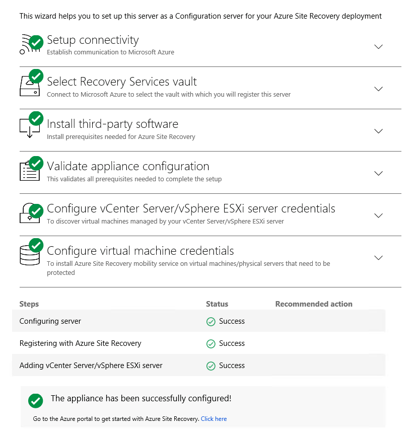 Azure site Recovery, Azure Site Recovery for VMware servers